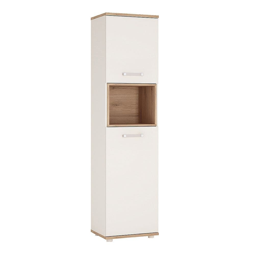 Kinder Tall 2 Door Cabinet in Light Oak and white High Gloss (opalino handles)